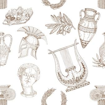 Patrón sin fisuras de elementos de grecia
