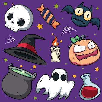 Patrón sin fisuras de elementos de halloween