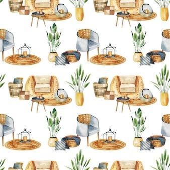 Patrón sin fisuras de elementos interiores de acuarela en estilo wabisabi y plantas en macetas
