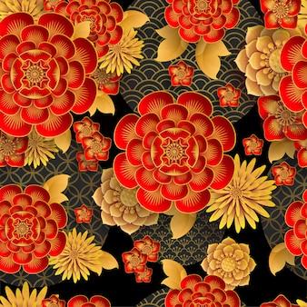 Patrón sin fisuras con elementos japoneses
