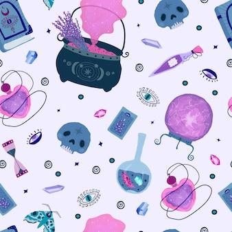 Patrón sin fisuras con elementos mágicos mágicos en lila, morado y rosa.