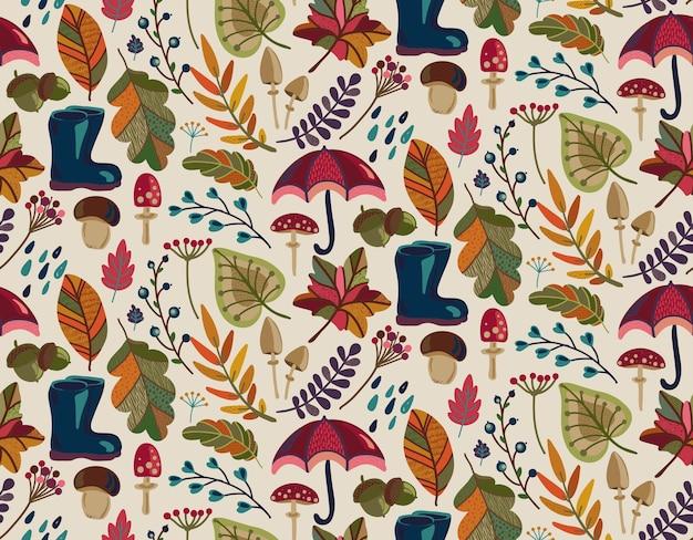 Patrón sin fisuras con elementos de la naturaleza otoñal caen hermosas hojas brillantes flores