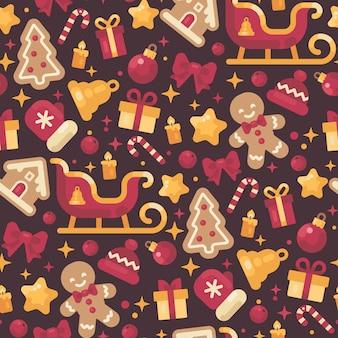 Patrón sin fisuras de elementos de navidad rojo y oro