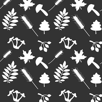 Patrón sin fisuras de elementos de otoño blanco aislado sobre fondo negro hojas de trigo de setas