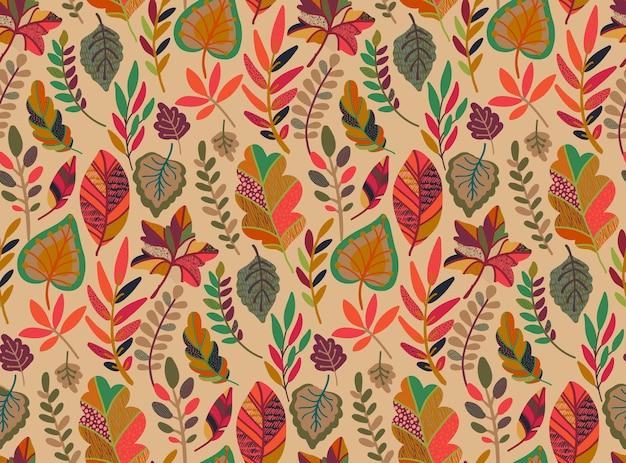 Patrón sin fisuras con elementos de otoño caen hermosas hojas brillantes ramas