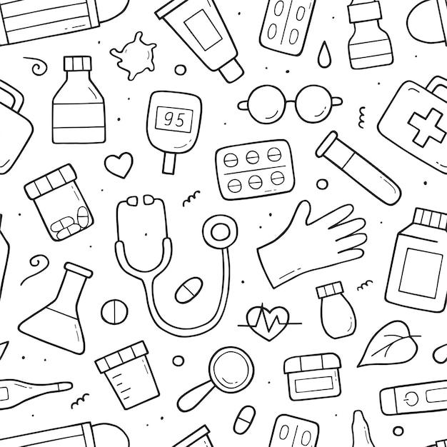 Patrón sin fisuras con elementos sanitarios y médicos. bosquejo del doodle. dibujado a mano