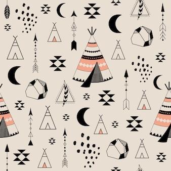 Patrón sin fisuras con elementos tribales.