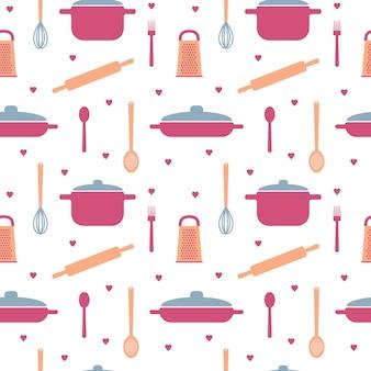 Patrón sin fisuras con elementos de utensilios de cocina en colores pastel para el diseño de papel de embalaje