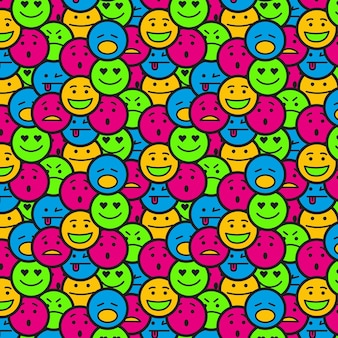 Patrón sin fisuras de emoticon sonriente lleno de gente