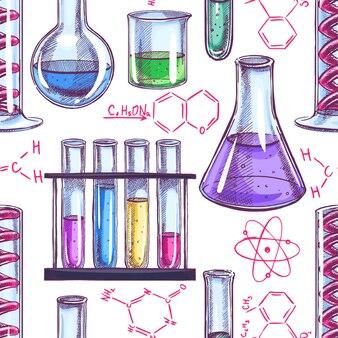 Patrón sin fisuras con equipos químicos y fórmulas