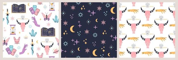 Patrón sin fisuras del espacio celeste, objetos mágicos de colores luna, sol y estrellas, forma simple, bohemio