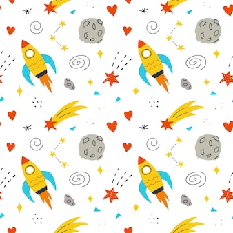 Patrón sin fisuras de espacio con lindo cohete, luna, corazones y estrellas. fondo de vector dibujado a mano.