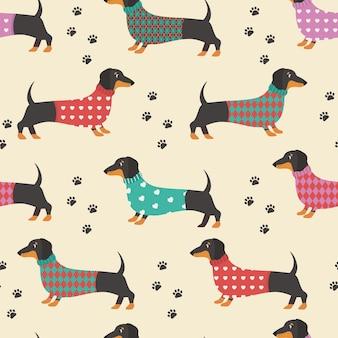 Patrón sin fisuras con estampados de dachshund y perros. .