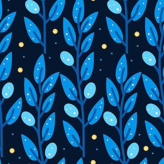 Patrón sin fisuras con estilizada rama de olivo azul sobre fondo blanco.