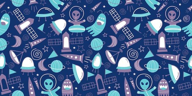 Patrón sin fisuras de estilo de dibujo infantil alienígena, ovni, satélite y cohete