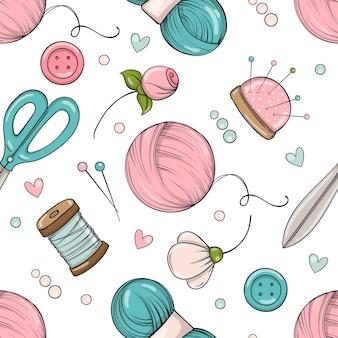 Patrón sin fisuras en estilo doodle con artículos de costura y costura.