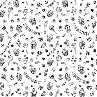 Patrón sin fisuras en estilo doodle con cupcakes y dulces.
