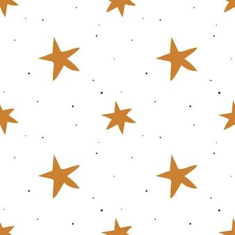 Patrón sin fisuras con estrellas doradas sobre un fondo blanco. ilustración vectorial.