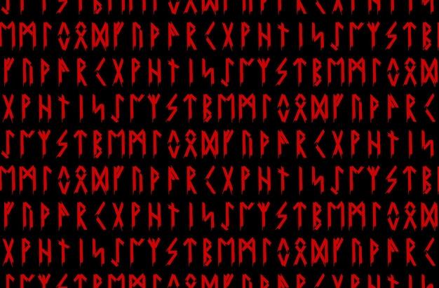 Patrón sin fisuras étnico noruego islandés. talismanes rúnicos de los vikingos y pueblos del norte. runas mágicas y mágicas. signos paganos. fondo repetible de futhark. ilustración vectorial.