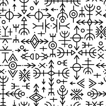 Patrón sin fisuras étnico noruego islandés. talismanes rúnicos de los vikingos y pueblos del norte. runas mágicas y mágicas. signos paganos. fondo repetible de futhark. vector