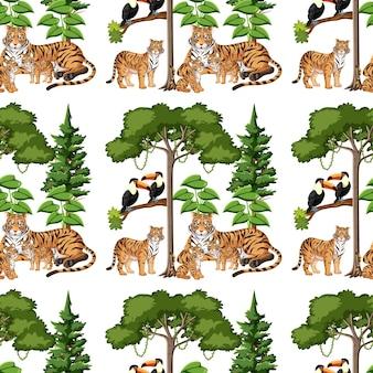 Patrón sin fisuras con la familia del tigre y el elemento de la naturaleza en blanco