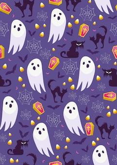 Patrón sin fisuras de fantasma de halloween
