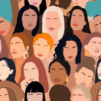 Patrón sin fisuras de feminismo con rostros de mujeres