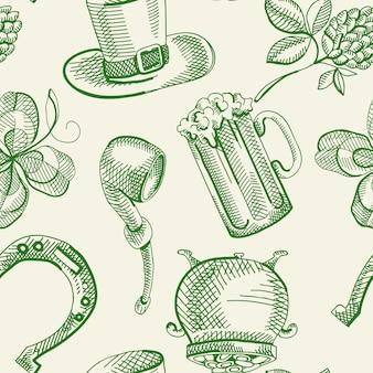 Patrón sin fisuras festivo del día de san patricio con símbolos tradicionales verdes dibujados a mano