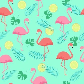 Patrón sin fisuras de flamencos rosados y corales y hojas de palma