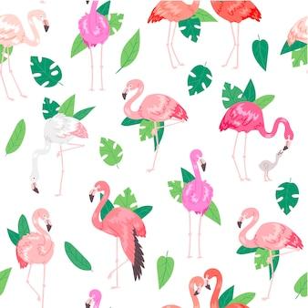 Patrón sin fisuras de flamingo tropical.