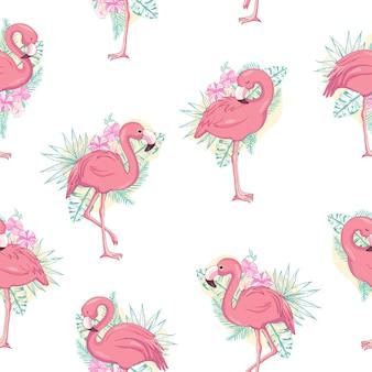 Patrón sin fisuras de flamingo tropical