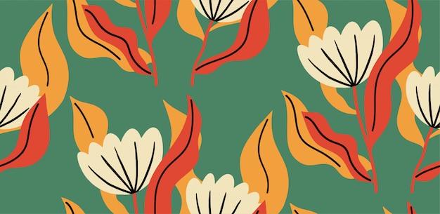 Patrón sin fisuras con una flor en colores vibrantes.