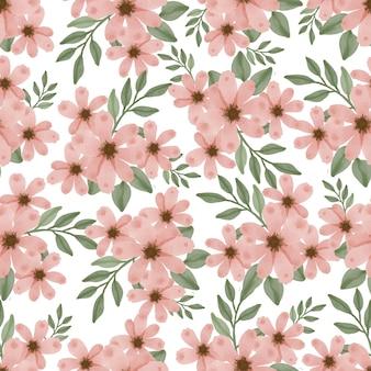 Patrón sin fisuras de flor de durazno y hoja