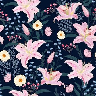 Patrón sin fisuras de flor de lirio sobre fondo azul con flores
