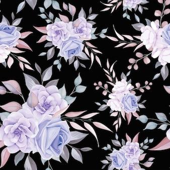 Patrón sin fisuras de flor romántica con decoración de flor morada