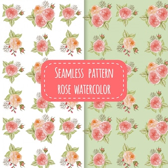 Patrón sin fisuras flor rosa acuarela