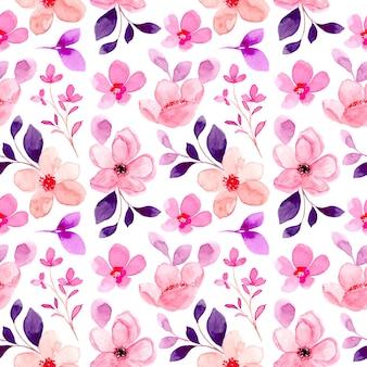 Patrón sin fisuras de flor rosa con acuarela