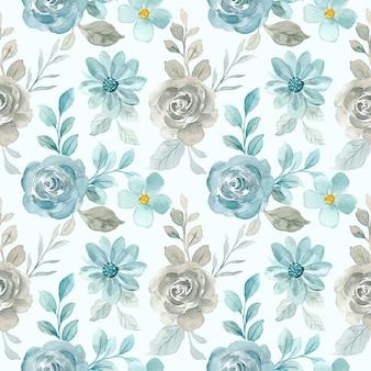 Patrón sin fisuras de flor rosa azul gris con acuarela