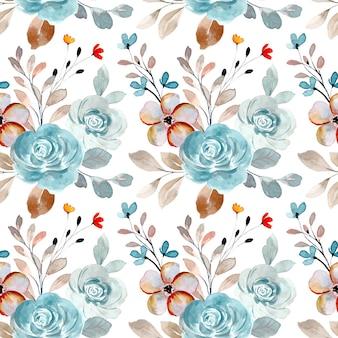 Patrón sin fisuras de flor rosa azul suave con acuarela