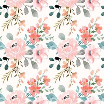 Patrón sin fisuras de flor rosa durazno con acuarela