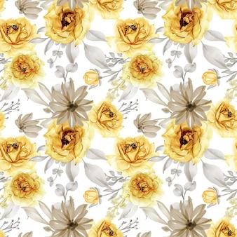 Patrón sin fisuras de flor rosa oro amarillo y gris