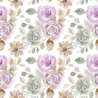 Patrón sin fisuras de flor rosa vintage con acuarela