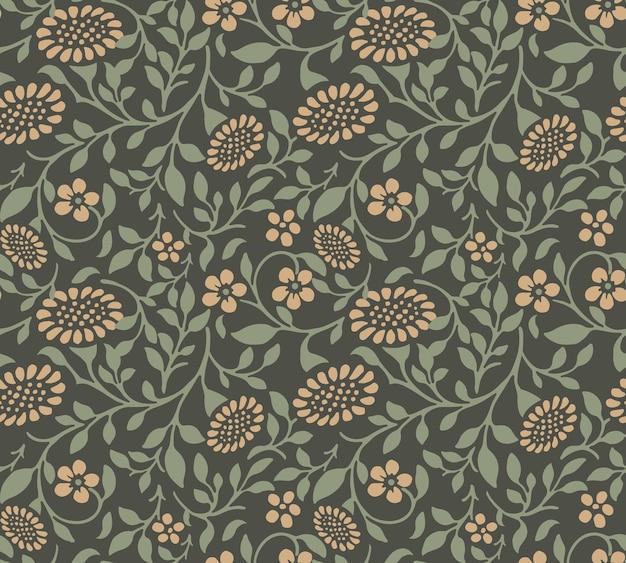 Patrón sin fisuras de flor de sol de hoja espiral verde jardín.