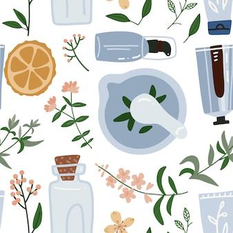 Patrón sin fisuras con flor de wimd, hojas, aceite esencial y mortero. planta de cosmética, perfumería y medicina. ilustración dibujada a mano plana.