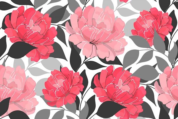Patrón sin fisuras floral peonía rosa