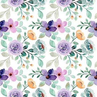 Patrón sin fisuras de floral verde púrpura con acuarela