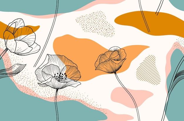 Patrón sin fisuras con flores abstractas y licencia.