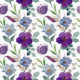 Patrón sin fisuras de flores acuarela púrpura