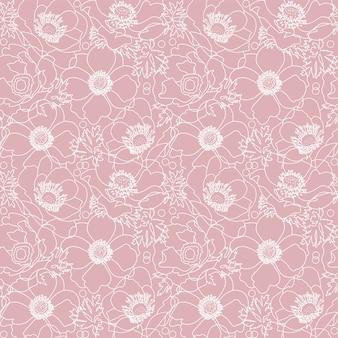 Patrón sin fisuras de flores de amapola rosa con elementos florales dibujados a mano de línea blanca