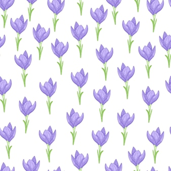 Patrón sin fisuras con flores de azafrán azul aislado poco ornamento.